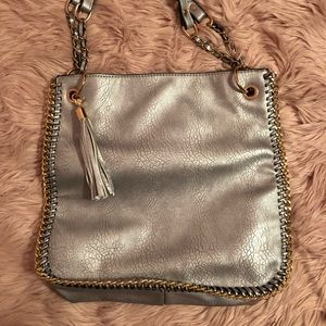 Large Silver Bag with Gold Colored Chain Hardware